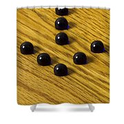 Marbles Arrow Blue 1 Shower Curtain