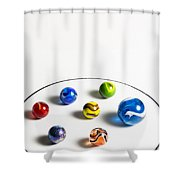 Marbles Circle 3 Shower Curtain