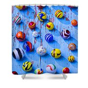 Marbles On Blue Board Shower Curtain