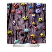 Marbles On Wood Shower Curtain