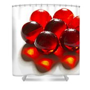 Marbles Red 3 C Shower Curtain