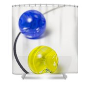 Marbles Yellow Blue Curve 1 Shower Curtain
