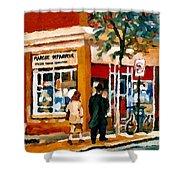 Marche Depanneur Storefront Paintings Authentic Montreal Art Prints Originals Commissions C Spandau Shower Curtain