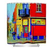 Marche Unique Cafe Sandwich Depanneur Rue St. Jacques St. Henri  Street Scenes Carole Spandau Shower Curtain