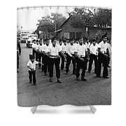 Marchers Number 1 100th Anniversary Parade Nogales Arizona 1980 Black And White  Shower Curtain