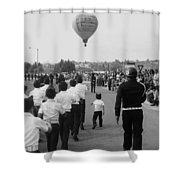Marchers Number 2 100th Anniversary Parade Nogales Arizona 1980 Black And White  Shower Curtain