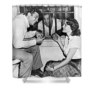 Marciano In A Movie Jail Set Shower Curtain by Underwood Archives