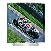 Marco Simoncelli Uphill Shower Curtain