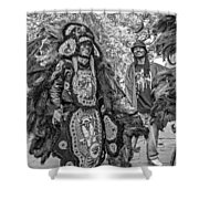 Mardi Gras Indian Monochrome Shower Curtain