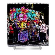 Mardi Gras Vendor's Cart Shower Curtain