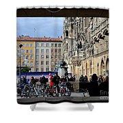Mareinplatz And Glockenspiel Munich Germany Shower Curtain