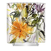 Marigold And Other Flowers Shower Curtain