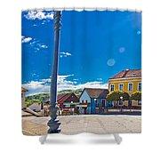 Marija Bistrica Square Colorful Panorama Shower Curtain