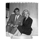 Marilyn Monroe And Joe Dimaggio Shower Curtain by Underwood Archives
