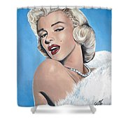 Marilyn Monroe - Blue Backround Shower Curtain