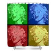 Marilyn Monroe Colored Frame Pop Art Shower Curtain by Daniel Hagerman