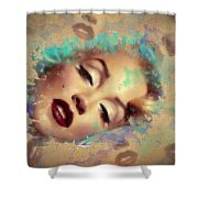 Marilyn Red Lips Digital Painting Shower Curtain