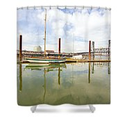 Marina Along Willamette River In Portland Shower Curtain