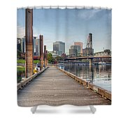 Marina Along Willamette River In Portland Oregon Downtown Shower Curtain