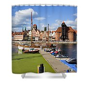 Marina And Old Town Of Gdansk Skyline Shower Curtain