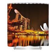 Singapore Cityscape At Marina Bay Sands Shower Curtain