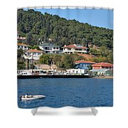 Marina Bay Scene With Boat And Houses On Hills Shower Curtain