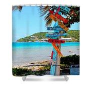 Marina Cay Sign Shower Curtain