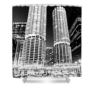 Marina City Towers At Night Black And White Picture Shower Curtain