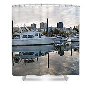 Marina On Willamette River In Portland Oregon Downtown Shower Curtain