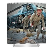 Marine Helicopter Landing Shower Curtain