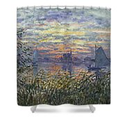 Marine View With A Sunset Shower Curtain
