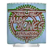 Mark Jones Velo Art Painting Blue Shower Curtain by Mark Howard Jones