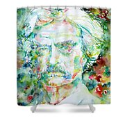 Mark Twain - Watercolor Portrait Shower Curtain by Fabrizio Cassetta