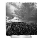 Marker - Black And White Photo Of Stone Marker And Brewing Storm In Kansas Shower Curtain
