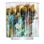 Marker Sketch Of Artist's Brushes Shower Curtain