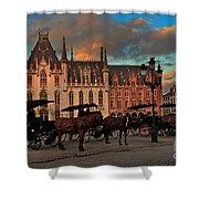 Markt Square At Dusk In Bruges Shower Curtain