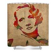 Marlene Dietrich Movie Star Watercolor Painting On Worn Canvas Shower Curtain