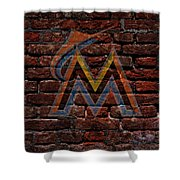 Marlins Baseball Graffiti On Brick  Shower Curtain by Movie Poster Prints