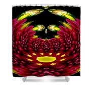 Maroon And Yellow Chrysanthemums Polar Coordinates Effect Shower Curtain