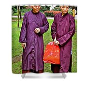 Maroon-robed Monks At Buddhist University In Chiang Mai-thailand Shower Curtain