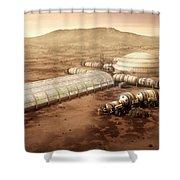 Mars Settlement With Farm Shower Curtain