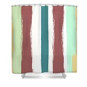 Marsala Stripe- Abstract Pattern Painting Shower Curtain