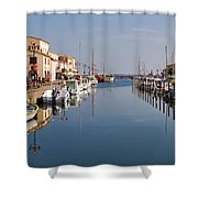 Marseillan Harbour Shower Curtain