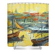 Marseille Harbour Shower Curtain
