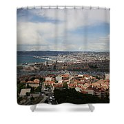 Marseille View From Cathedral Notre Dame De La Garde Shower Curtain