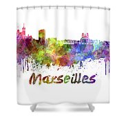 Marseilles Skyline In Watercolor Shower Curtain