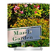Marsh Garden Sign And Flowers Shower Curtain