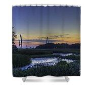 Marsh To Bridge Shower Curtain