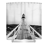Marshall Point Approach - Black And White Shower Curtain