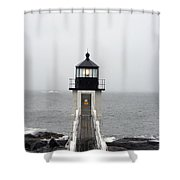 Marshall Point Light On A Foggy Day Shower Curtain